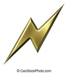 3d golden thunderbolt isolated in white