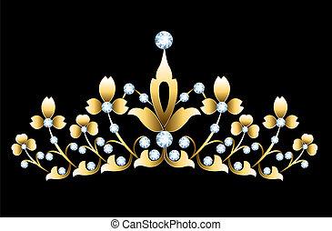 Golden tiara - Vintage golden tiara with jewels on black...