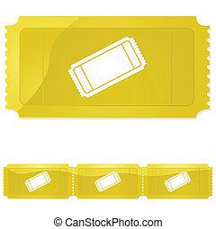 Golden ticket - Glossy illustration of a golden ticket -...