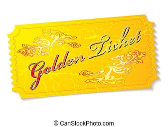 golden ticket - Golden winning prize ticket illustration ...