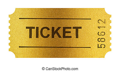 Golden ticket isolated on white with clipping path included