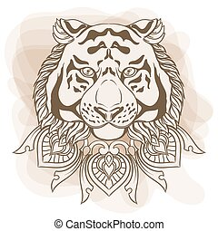Golden tiger head with ornament mandala. Vintage hand drawn illustration in linear style.