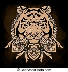 Golden tiger head with ornament mandala. Vintage hand drawn illustration in linear style on black background.