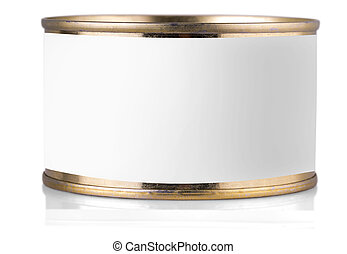 golden tin can with label on isolated white background.