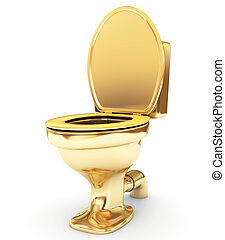 Golden toilet bowl as a status