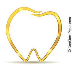 golden tooth - Golden tooth design. Beautiful healthy tooth...