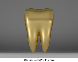Golden tooth on blue