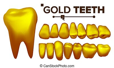 Golden Tooth Vector. Metal Gold Human Teeth. Isolated Illustration