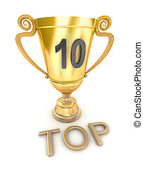 Golden top 10 cup, isolated on white