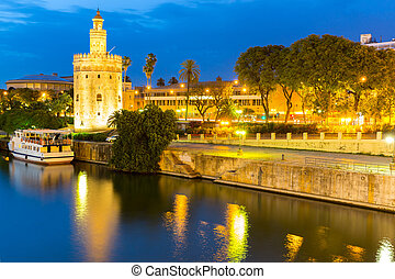 Golden Tower Seville - Golden Tower with cityscape and river...
