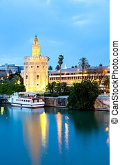 Golden Tower Seville Spain - Golden Tower with cityscape and...