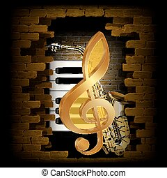 Golden treble clef saxophone piano key on a brick wall