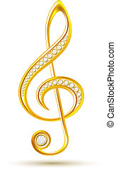 Golden treble clef with diamonds isolated on the white...