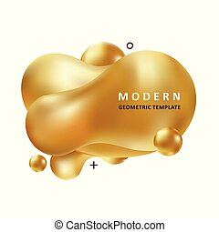 Golden trendy concept. Mosaic amoeba design. Abstract colorful waves. Modern vector memphis liquid shape.