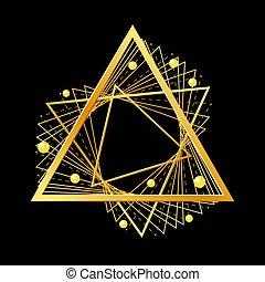Golden triangle on black background. Vector illustration.