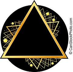 Golden triangle on black circle. Vector illustration.