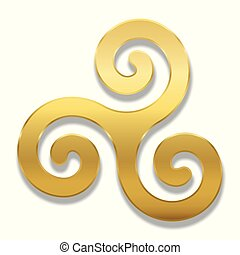 Golden celtic spiral triskele on white background. Triskelion. A motif consisting of a triple spiral exhibiting rotational symmetry. Three twisted and connected spirals. Isolated illustration.