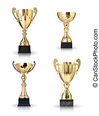 golden trophies - Set of different kind of golden trophies....