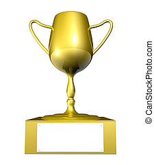 Golden Trophy - 3D Illustration. Isolated on white.