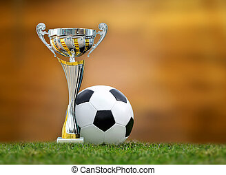 Golden trophy and soccer ball in grass