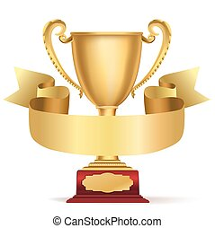 golden trophy cup and ribbon with space for text on white....