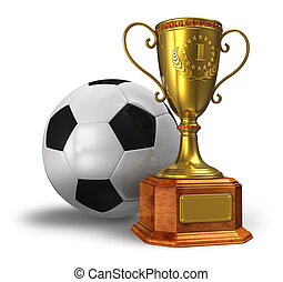 Golden trophy cup and soccer ball