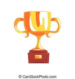 Golden trophy cup cartoon vector Illustration
