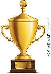 Golden Trophy Cup - Shiny golden throphy cup isolated on...
