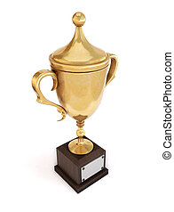 Golden trophy cup isolated on white background. 3d illustration.