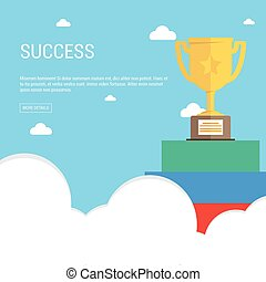 Golden trophy cup on flat style. Vector illustration