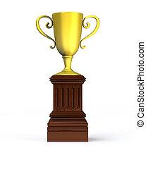 Golden trophy cup on the pedestal