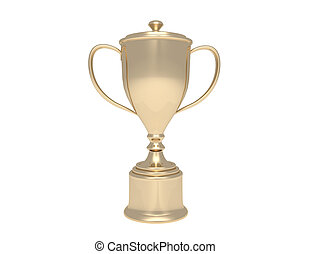 golden trophy cup on wood pedestal with blank plate