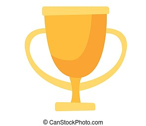 Golden trophy cup vector cartoon illustration.