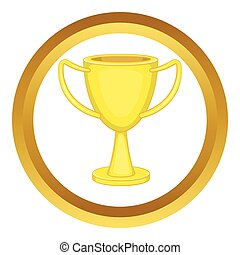 Golden trophy cup vector icon