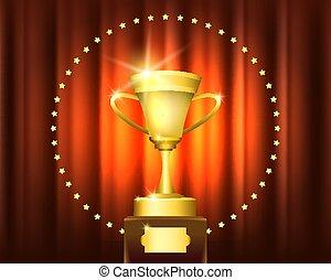 Golden Trophy Cup Winner Emblem. Vector illustration.