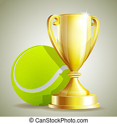 Golden trophy cup with a Tennis ball.