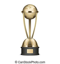 Golden Trophy Cup with Planet Earth Graphic Icon