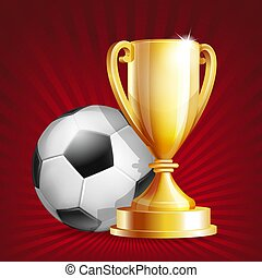 Golden trophy Cup with soccer ball.