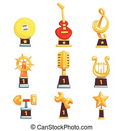 Golden trophy cups, awards and achievements set of cartoon vector Illustrations