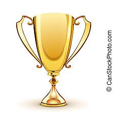 golden trophy - illustration of Front view of a golden...