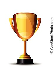 Golden Trophy Isolated on White