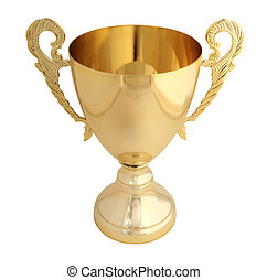 Golden trophy isolated with path