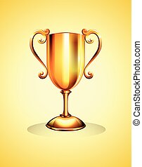 Golden trophy on yellow background