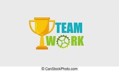 team work animation hd - golden trophy prize team work...