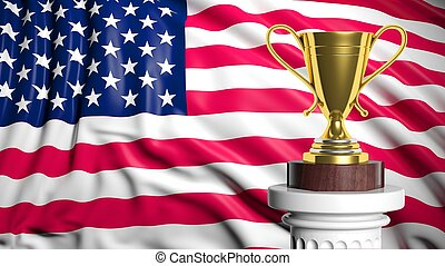 Golden trophy with American flag in background