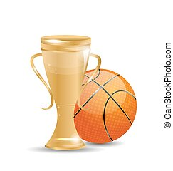 Golden Trophy with Basketball Ball