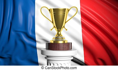 Golden trophy with French flag in background