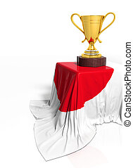 Golden trophy with Japanese flag isolated on white