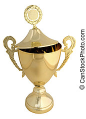 Golden trophy with open lid - includes clipping path