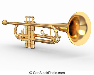 Golden trumpet on white isolated background. 3d
